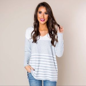 🆕 Boutique Ivory & Grey Multi Stripe Cozy Sweater